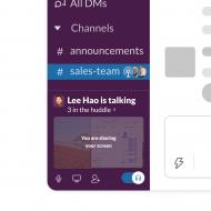 fenêtre de présentation des huddles sur Slack