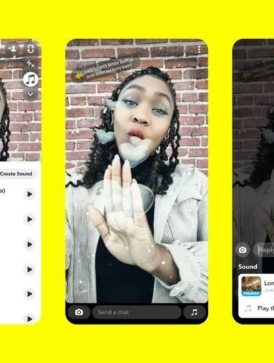la fonctionnalité sounds sur snapchat avec une liste de musiques