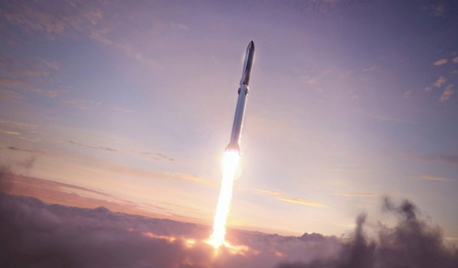La fusée Starship en plein lancement