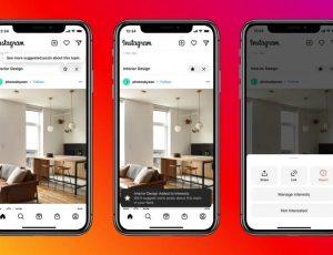 démonstration des possibilités de personnalisation des suggestions Instagram