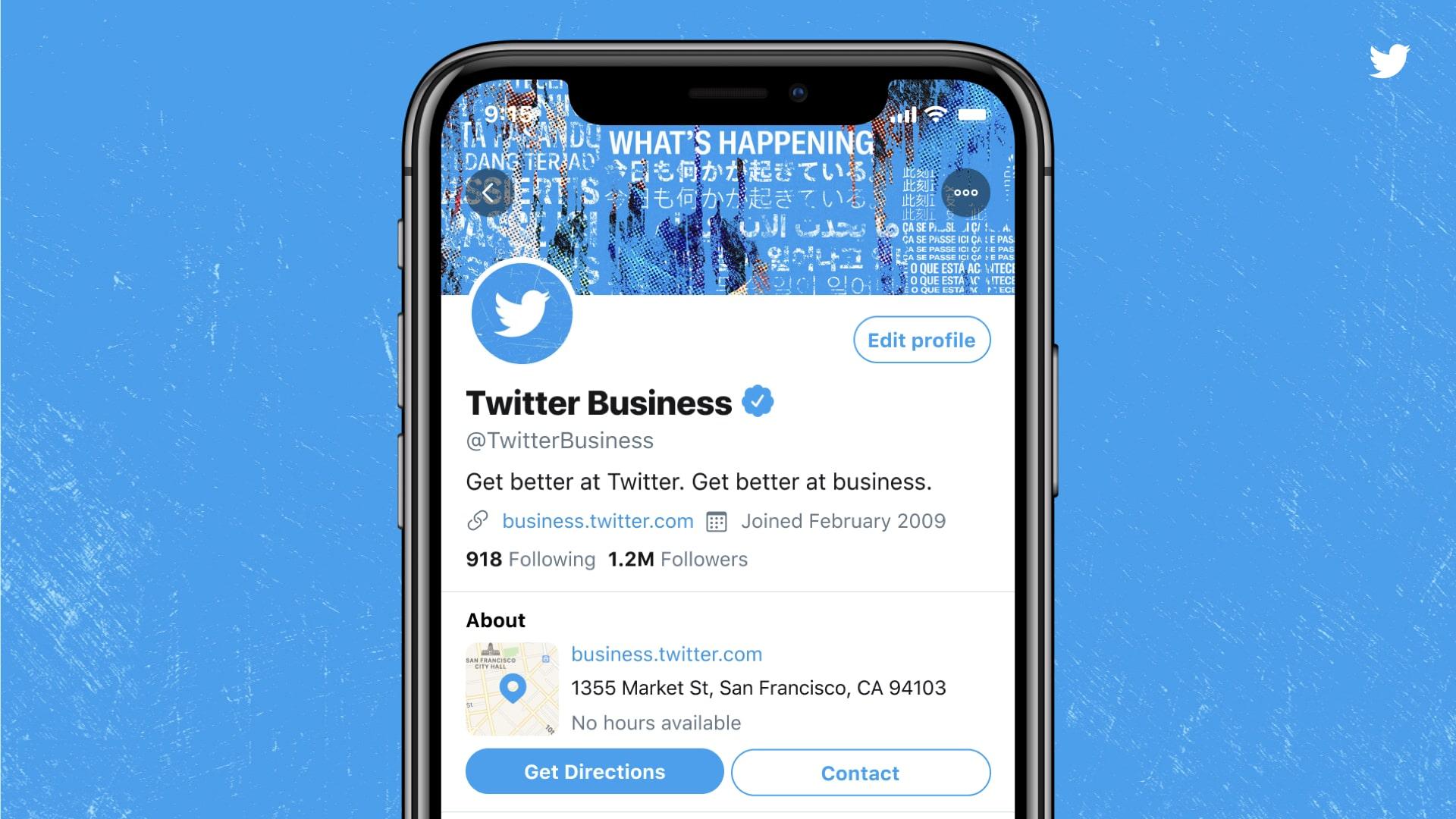 aperçu des profils professionnels sur Twitter