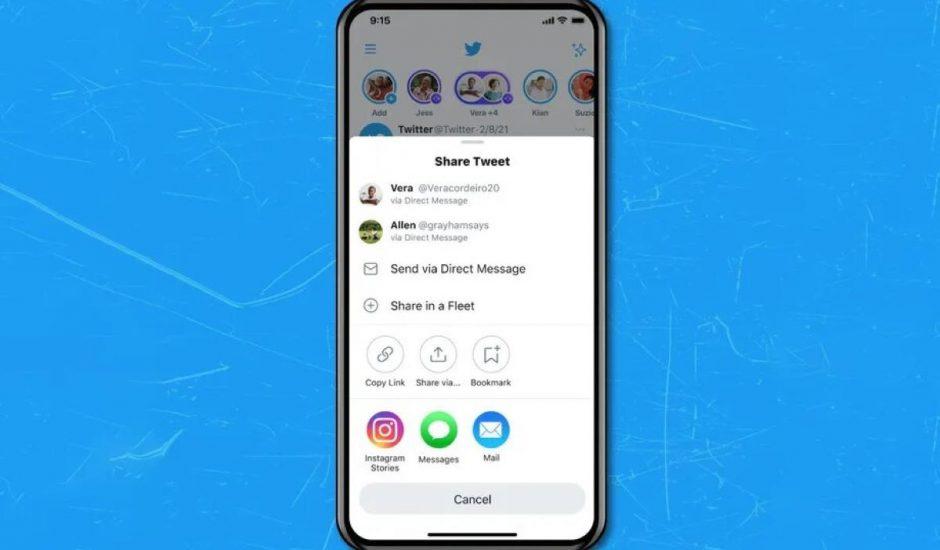 fenêtre de partage de twitter avec l'option instagram stories