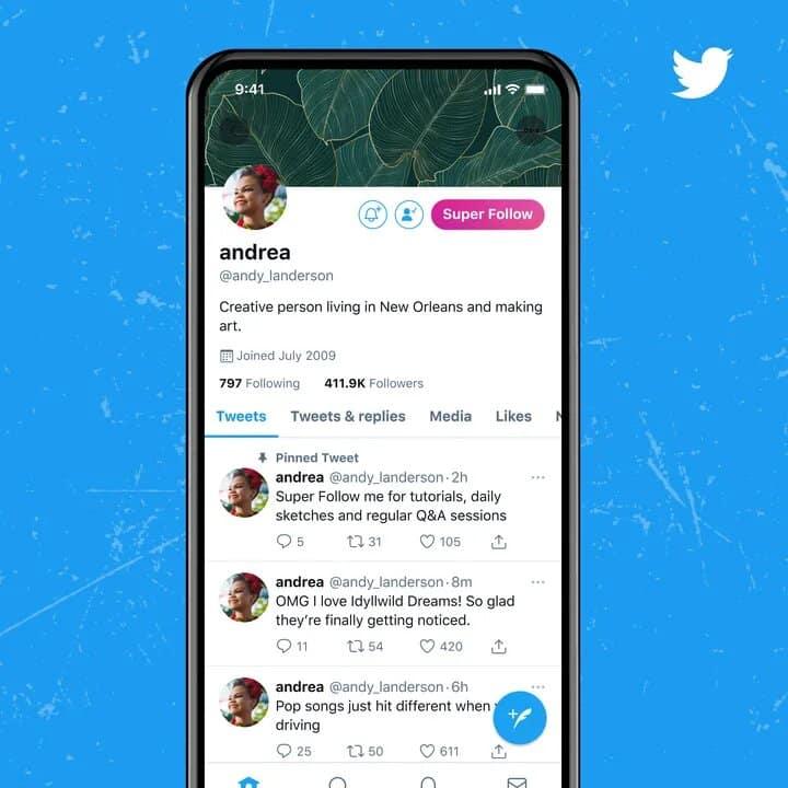 un compte twitter avec le bouton super follow