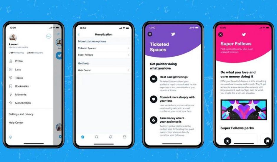 présentation de Ticketed Spaces et Super Follow, nouvelles options de monétisation sur Twitter