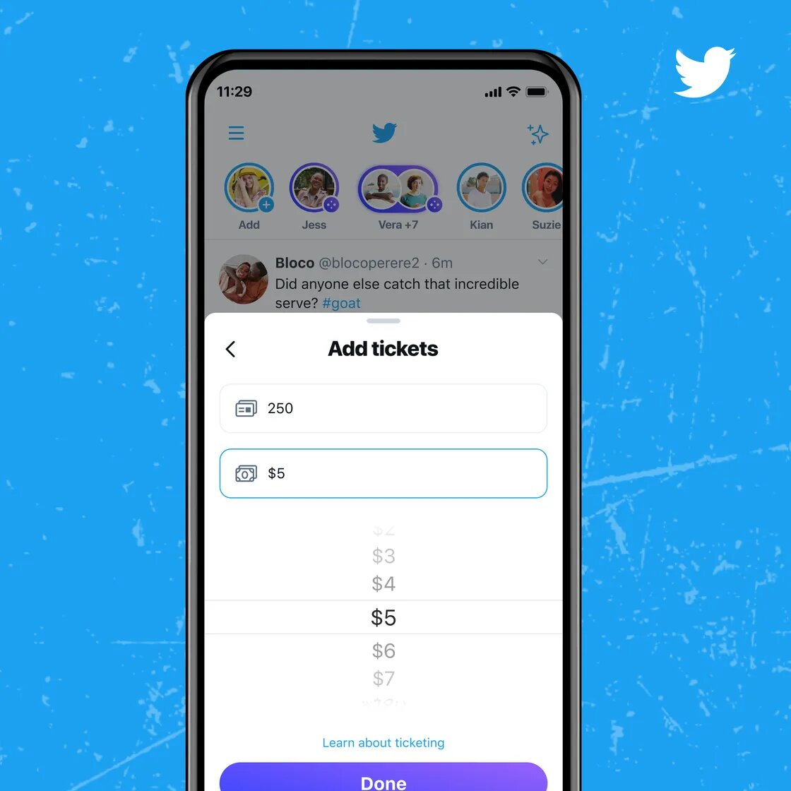 page qui permet de choisir le prix d'un événement Spaces sur Twitter