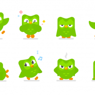 Images du logo de Duolingo, l'oiseau vert sous forme d'emojis.