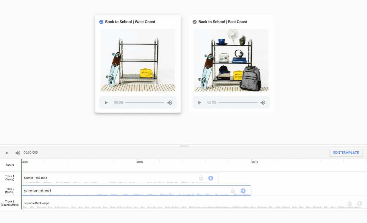 Interface permettant de personnaliser les pistes audio pour la même publicité vidéo