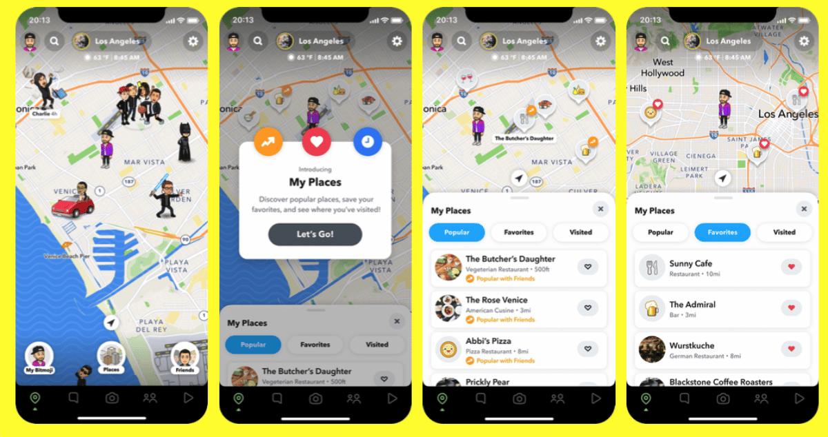 4 écrans de téléphone présentant la nouvelle fonctionnalité de Snapchat, Mes Lieux.