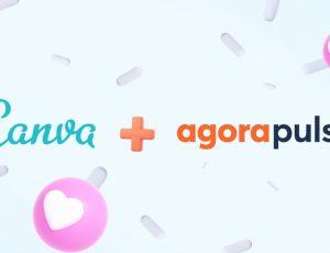 Illustration du partenariat entre Canva et Agorapulse
