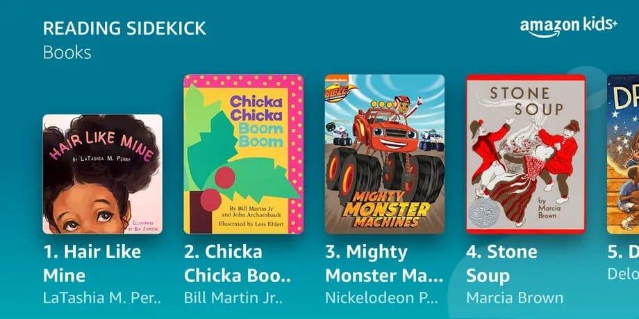 affichage des suggestions de lecture dans Amazon Kids+