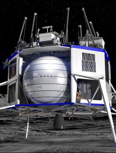 Vision d'artiste de l'alunisseur Blue Moon posé sur la Lune.
