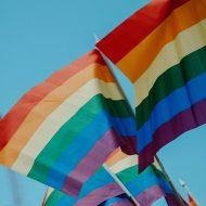 Deux drapeaux LGBT flottent dans les airs.