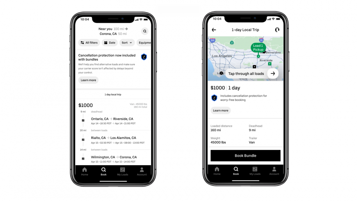 L'interface d'Uber Freight