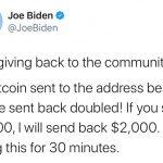 Le message publié par les pirates sur le compte Twitter de Joe Biden