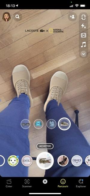 effet de réalité augmentée snapchat d'une paire de chaussures issu de la collaboration Lacoste x National Geographic