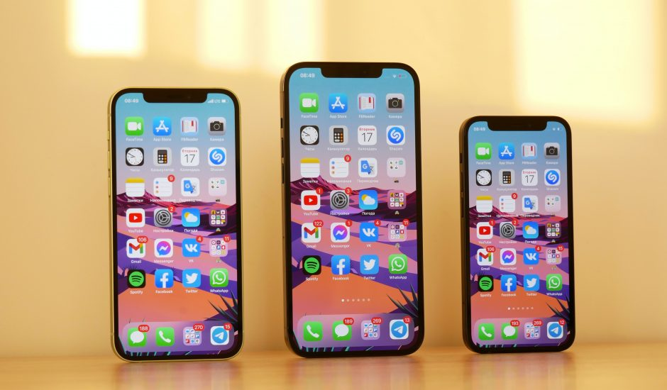 L'iPhone 12, l'iPhone 12 Pro Max et l'iPhone 12 Mini.