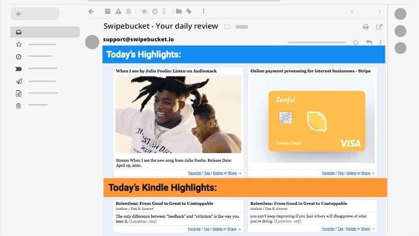mail quotidien SwipeBucket