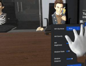 une interface Oculus fonctionnant en réalité mixte