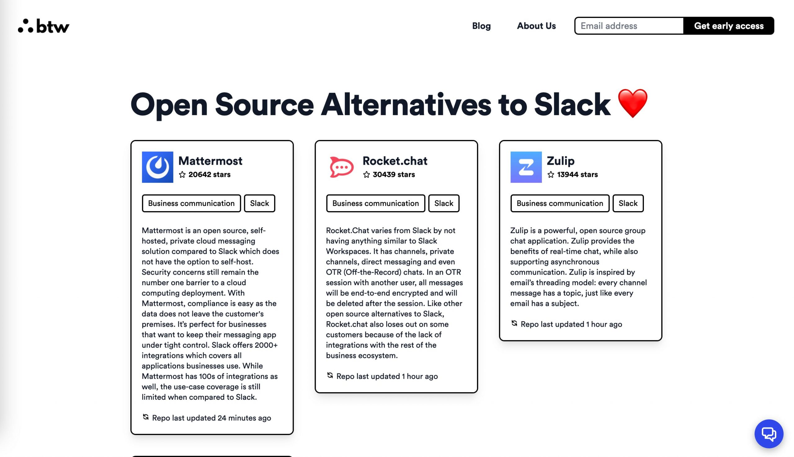 catégorie dans Open Source Alternative