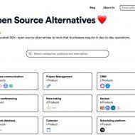home page de Open Source Alternatives