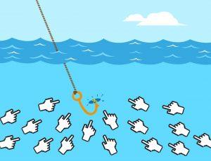 Image représentative du clickbait, avec des souris pointant vers un hameçon.