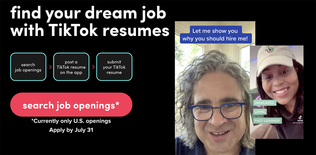 La page d'accueil de TikTok Resumes.