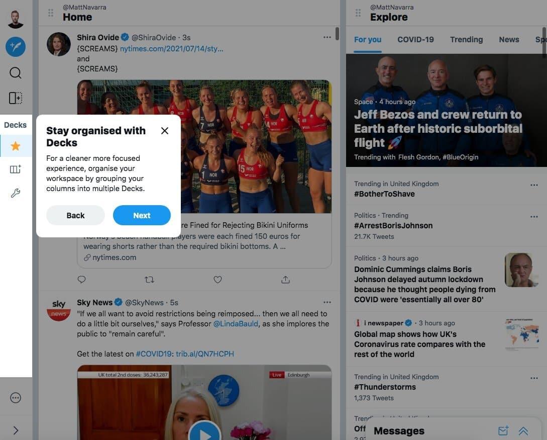 aperçu de la fonctionnalité Decks sur TweetDeck