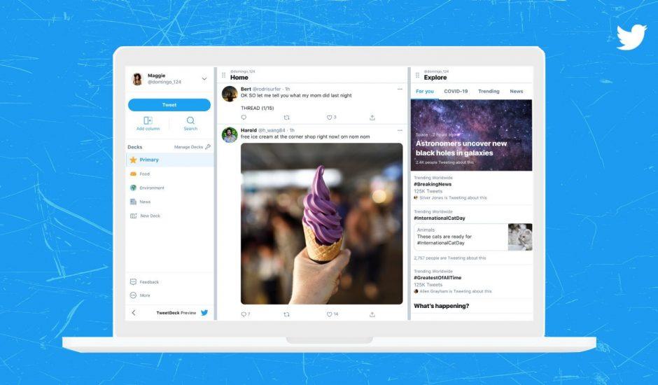 aperçu de la nouvelle interface TweetDeck