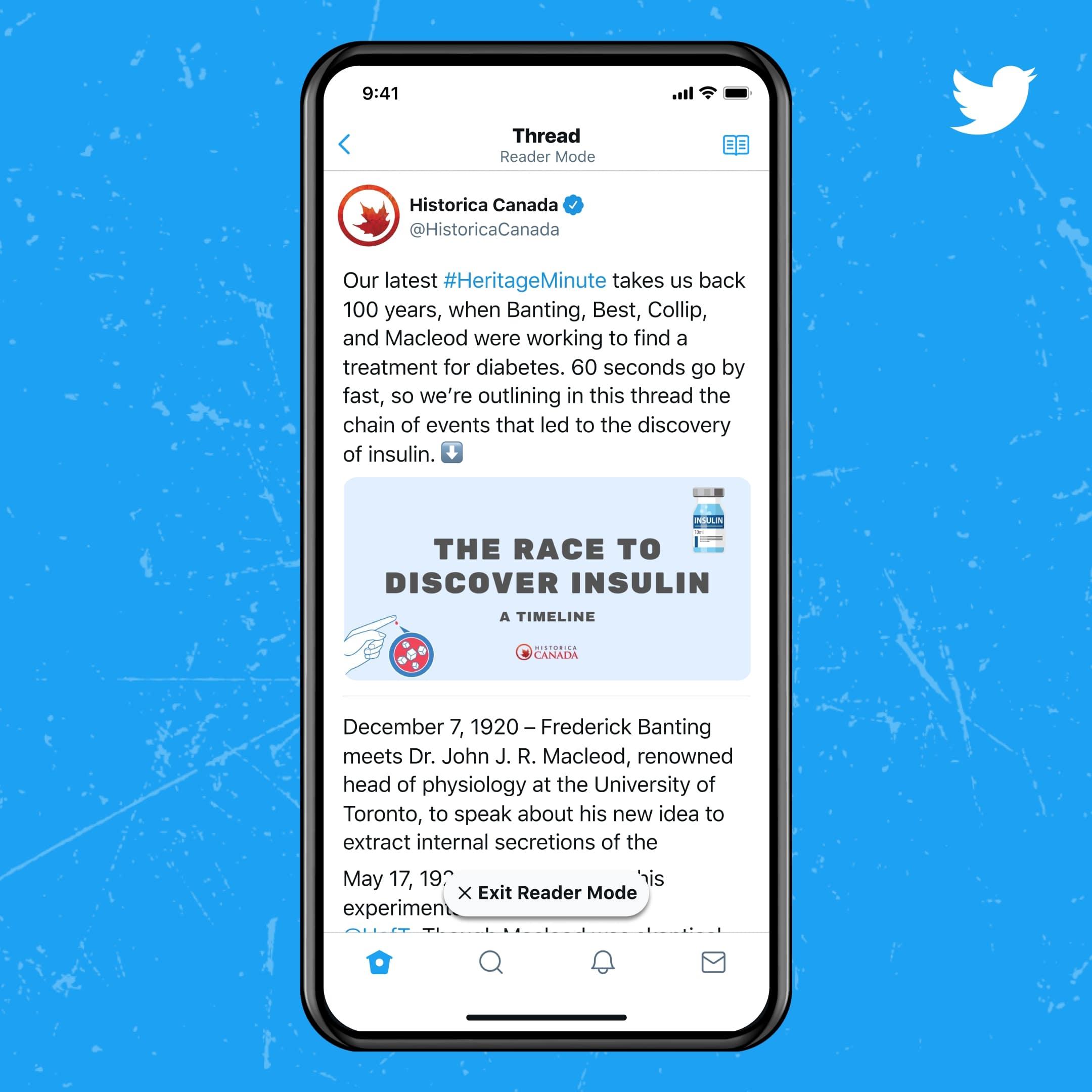 présentation du mode lecture avec Twitter Blue