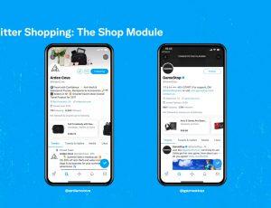 Aperçu de la nouvelle section Shopping sur Twitter.