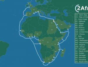 Schéma de l'installation du câble 2Africa autour de l'Afrique.