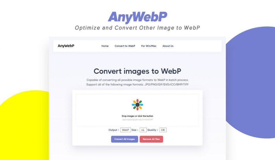 page d'accueil du site AnyWebp