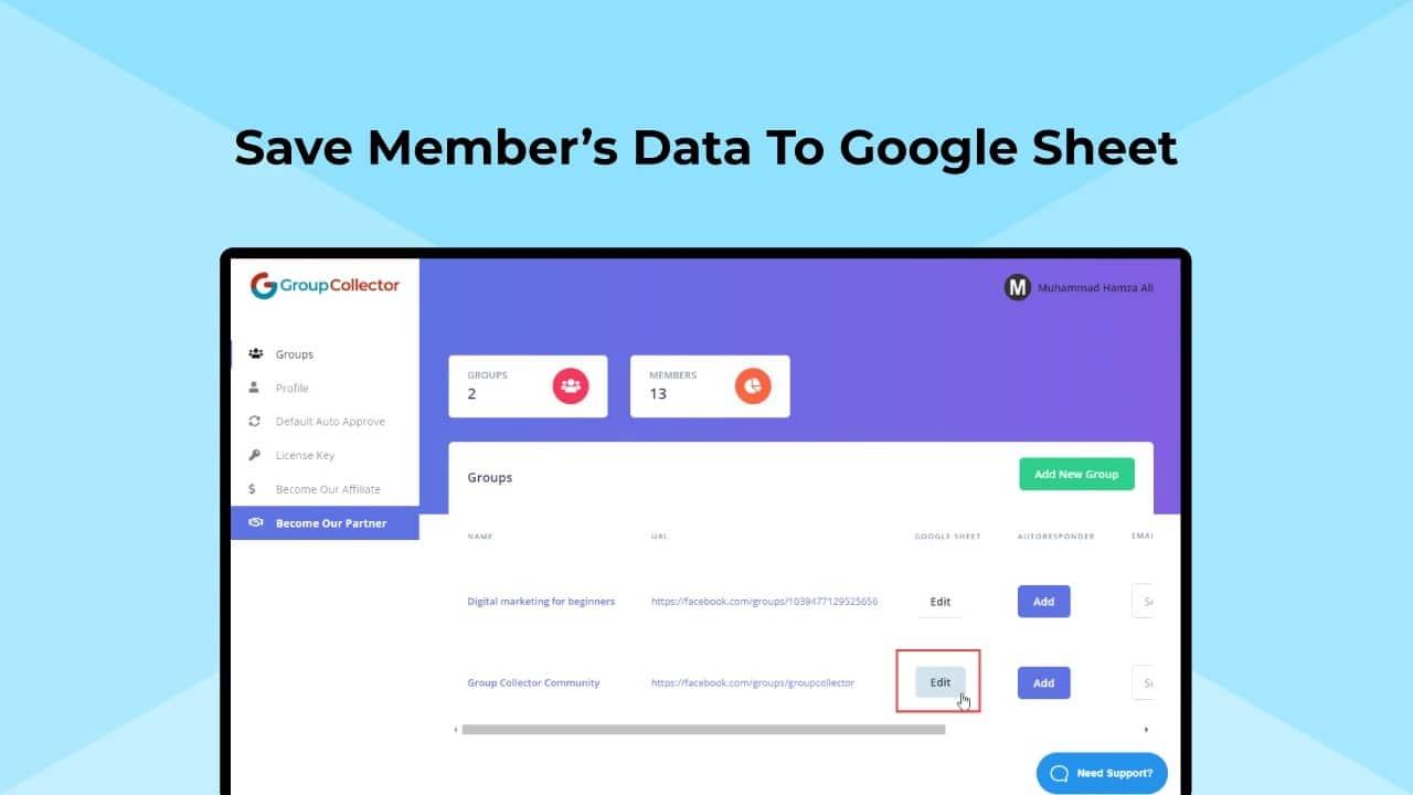 Group Collector, sauvegarde des données