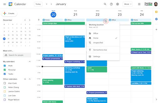 """Vue de l'option """"lieu de travail"""" dans Google Agenda"""