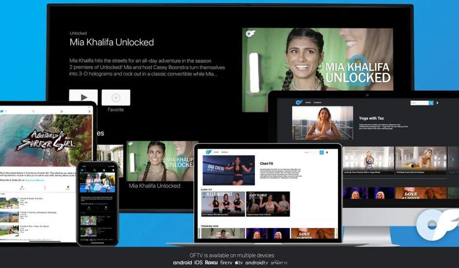 Divers écrans permettant de voir que l'application OFTV est disponible sur TV, smartphone, tablette et PC.