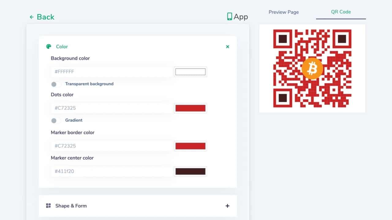 personnalisation couleur QR code