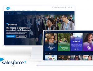 Image présentant deux ordinateurs ouverts sur la plateforme de streaming vidéo salesforce+.