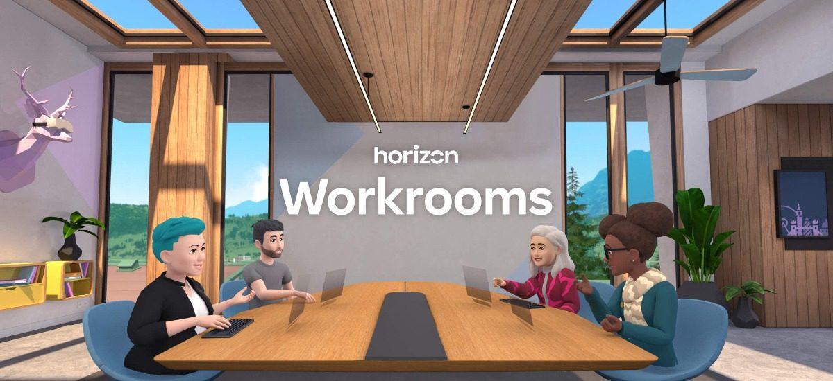 Image d'une salle de travail en réalité virtuelle dans Horizon Workrooms de Facebook