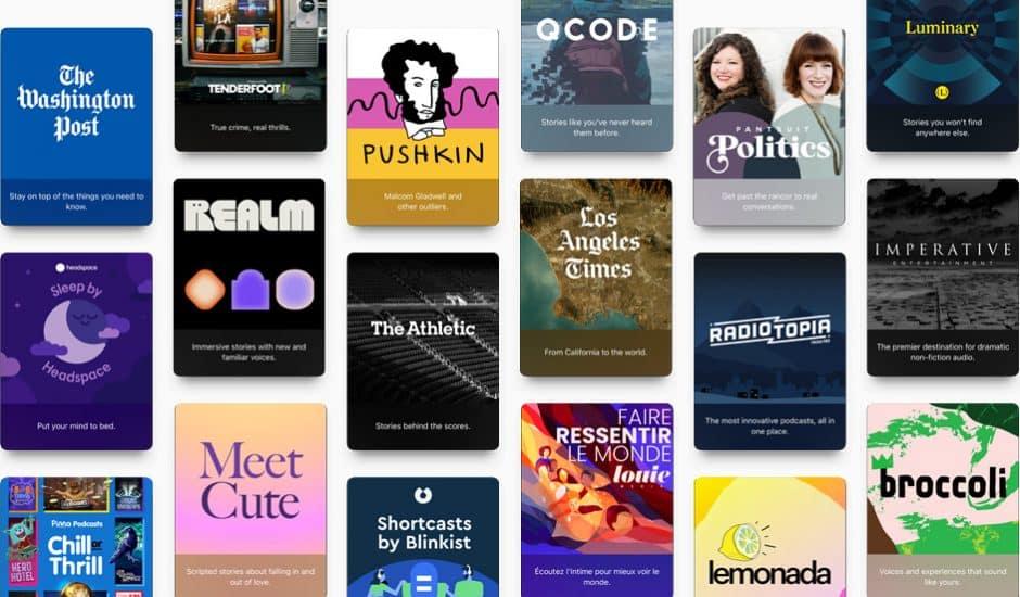mosaïque des chaînes qui regroupent des podcasts Apple