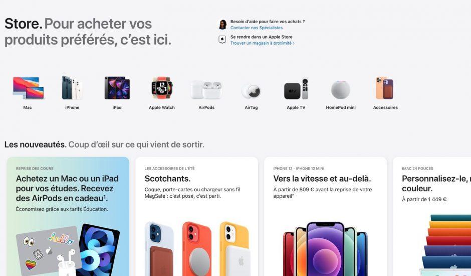 Capture d'écran du nouveau design de l'Apple Store
