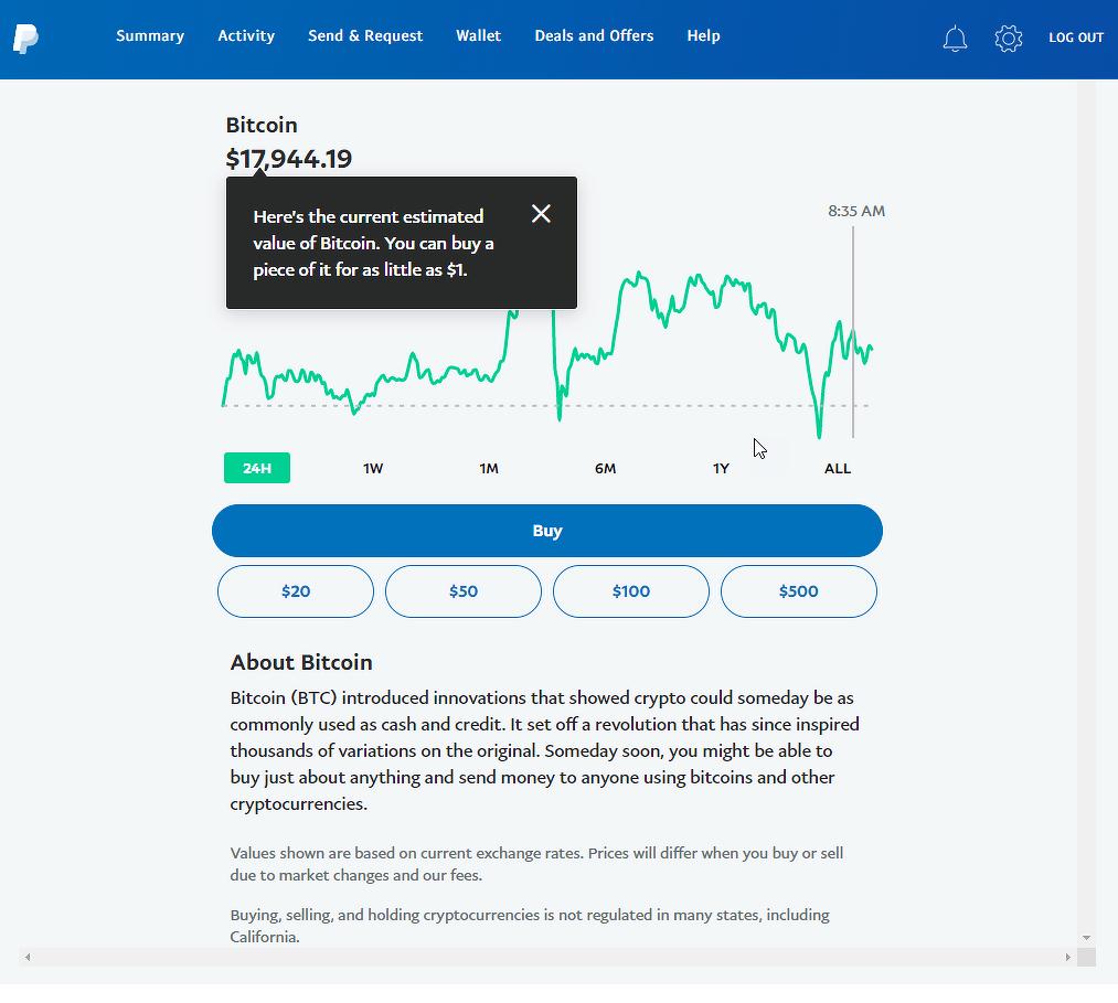 Page du cours du Bitcoin sur PayPal
