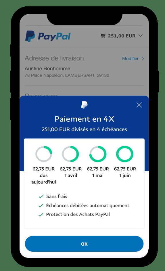 PayPal propose le paiement en 4 fois sans frais