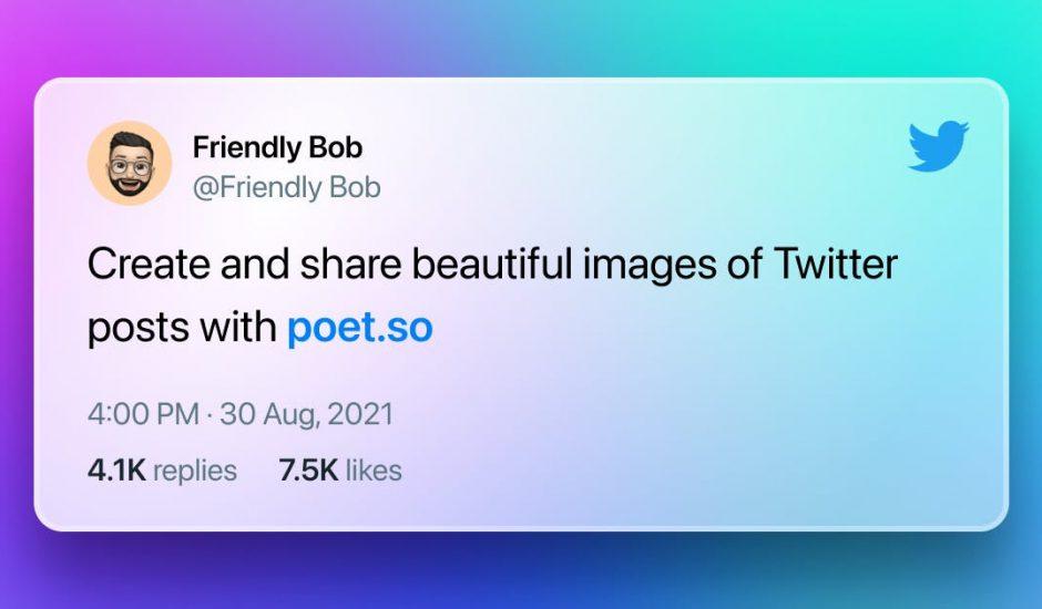 exemple de tweet réalisé sur Poet.so