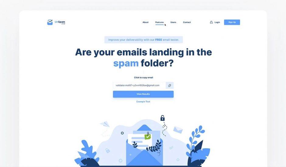 page d'accueil du site Unspam.email