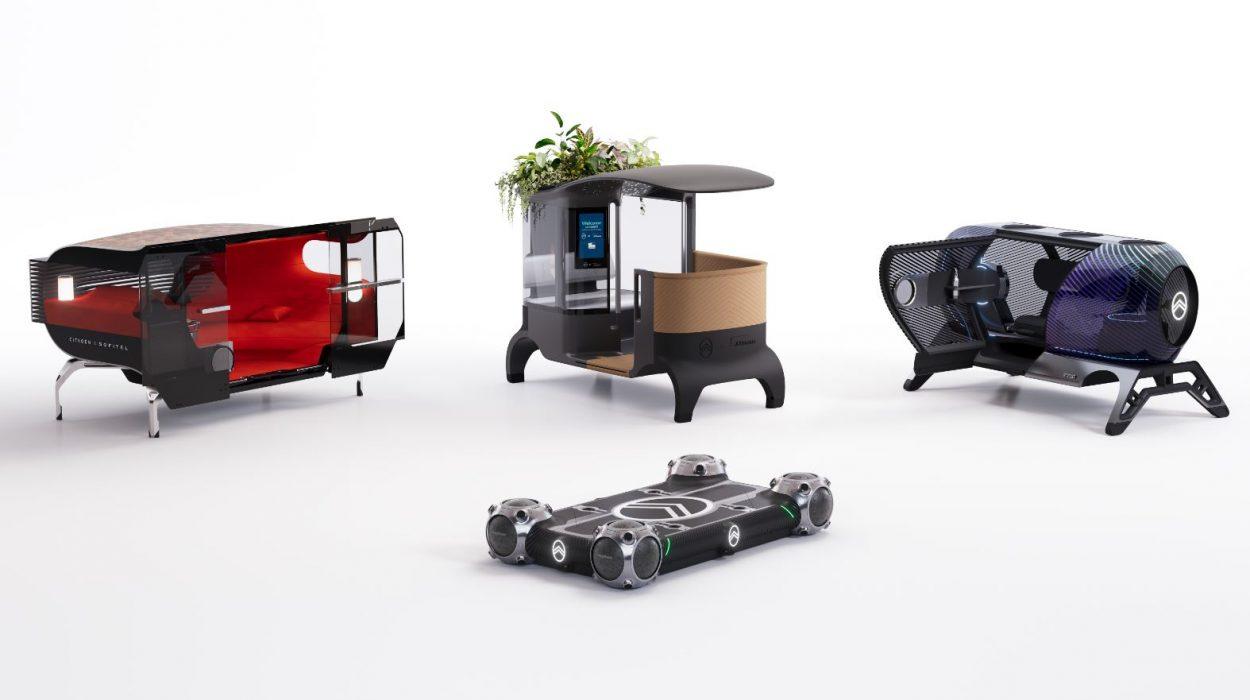 Le Citroën Skate et ses trois pods, qui constituent le concept Citroën Autonomous Mobility Vision