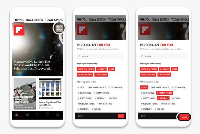 Trois smartphones présentant la nouvelle page principale de Flipboard où il est désormais possible de personnaliser le contenu.