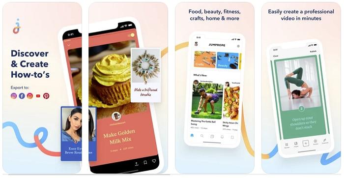 Vue d'écrans de l'application Jumprope