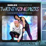 Affiche du concert des Twenty One Pilots sur Roblox.