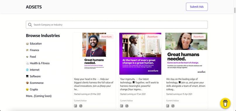 AdSets bibliothèque de publicités