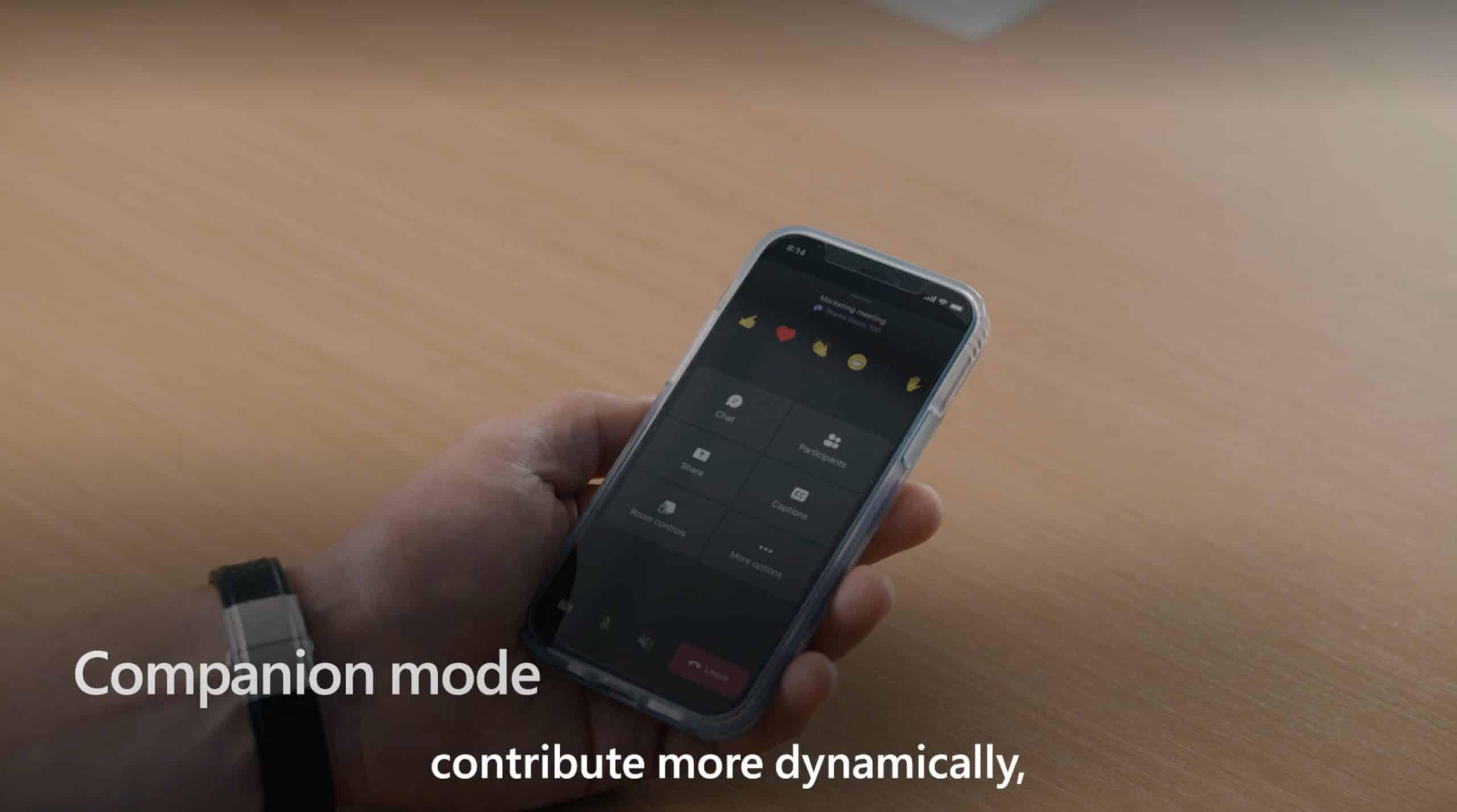 L'utilisation du mode compagnon de Teams sur un smartphone